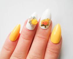 yellow rose stiletto nails fake nails acrylic nails press