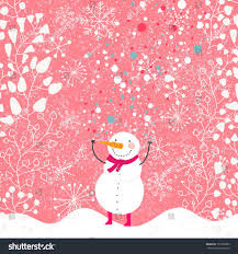 funny snowman red scarf on floral stock vector 157307882