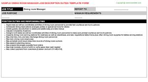 dining room manager jobs dining room manager job description sle job descriptions and duties