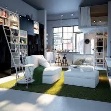 minimalist small studio apartment design with nice rugs and white