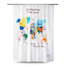 World Map Fabric by Enaezen The World Map Fabric Shower Curtains Enaezen Shower Curtains
