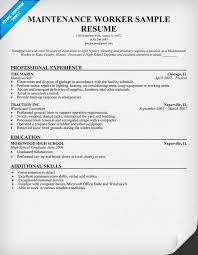 Maintenance Foreman Resume Maintenance Worker Resume Sample Resumecompanion Com Resume