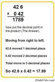 multiplying decimals multiplying decimals