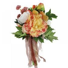Home Decor Silk Flower Arrangements Fumud Artificial Mango Peony Rose Flowers Bridal Bouquet Fake Silk