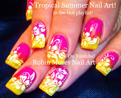 robin moses nail art summer color fun neon pink and yellow ombre