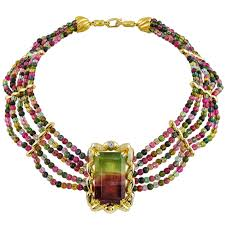 bead diamond necklace images Pink and green tourmaline and diamond bead necklace kaufmann de jpg
