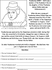 pocahontas and other famous people worksheets 3rd grade history