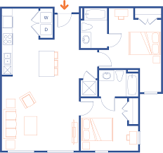 Two Bedroom Floor Plan by Clemson Sc Apartments Grandmarc Clemson Floor Plans