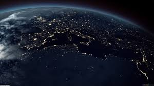 World Map At Night by Earth From Space At Night Wallpaper
