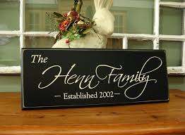 family name plaque carved personalized family name sign