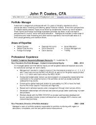 Sample Resume For Finance Manager by Portfolio Manager Resume Template Examples