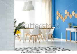 cozy blue white living room flowery stock photo 654536338
