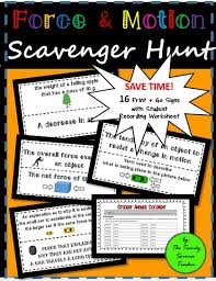 force and motion scavenger hunt for middle and high