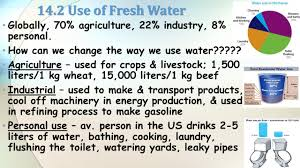 environmental science unit 9 d e f resource management part 2 14 2 use of fresh water globally 70 agriculture 22 industry 8
