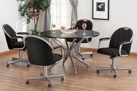 Swivel Dining Chair Astounding Great Caster Dining Room Chairs With On Wheels At