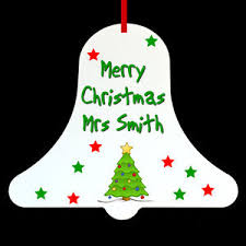 personalised bell teacher christmas tree ornament bauble