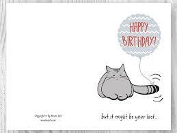 birthday card printable birthday card cat birthday