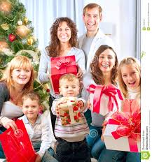 big family with gifts royalty free stock photography