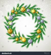 christmas tree wreath decorations spruce branches stock vector