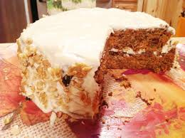 gluten free carrot cake with walnuts and cream cheese frosting