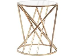 round metal side table bronze bars side table metal struts glass side table