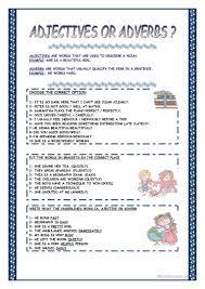 85 free esl adjective adverb worksheets