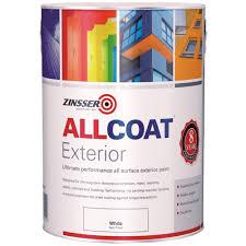 zinsser allcoat exterior water based paint satin white 5 litre