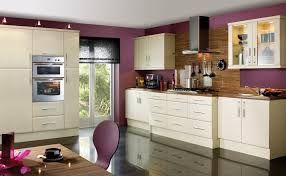 kitchen simple amazing inspiring cream cabinet and purple wall