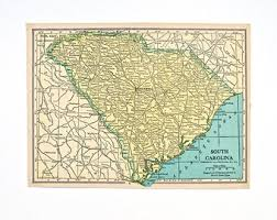 South Carolina Home Decor South Carolina Map Etsy