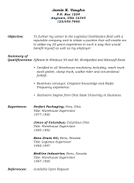 Logistics Supervisor Resume Samples by Warehouse Supervisor Resume Sample Contegri Com