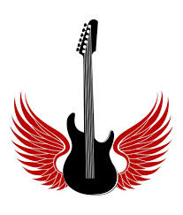 chipakk black guitar with wings wall sticker buy chipakk black