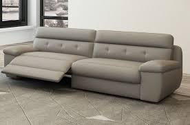 canapé 3 places relaxation en cuir italien gris clair