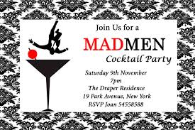 Cocktail Party Invitation Card Mad Men Inspired Birthday Cocktail Party Event Invitation