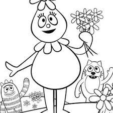 brobee give balloon to toodee in yo gabba gabba coloring page