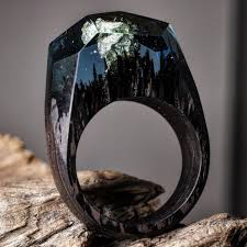 stunning wood and resin rings that feature miniature dioramic