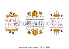 thanksgiving elements handsketched typographic elements on stock