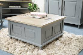 painted pine shabby chic french square storm grey trunk coffee table