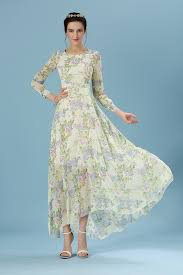 women europe long sleeve ball gown full length floral printed maxi