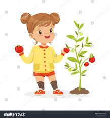 gardening emoji sweet little picking tomatoes garden stock vector 708684340