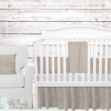 tan white linen gender neutral baby crib bedding