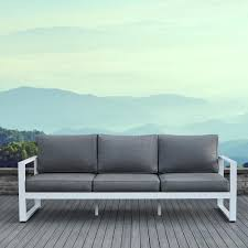 Real Flame Baltic White  Piece Aluminum Outdoor Sofa With Gray - White outdoor sofa