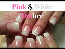 White Pink Nail Easy Pink And White Ombre Nails Tutorial Pink Ombre Coffin