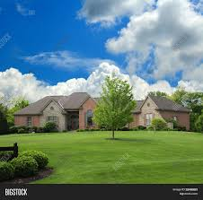 ranch style home brick and stone suburban ranch style home stock photo u0026 stock