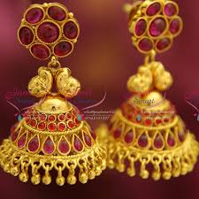 gold jhumka earrings design with price e4228 kemp style gold plated broad design pearl hangings