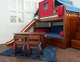 Cool Boy Bunk Beds High Bunk Bed With Slide And Blue Top Tent In Cool Bedrooms