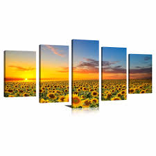 sunflower artwork promotion shop for promotional sunflower artwork 5 panels new sunflowers canvas paintings artworks landscape pictures printed wall art for home decorations with wooden framed
