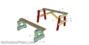 Picnic Table With Benches Plans 5 Ft Picnic Table With Benches Plans Myoutdoorplans Free