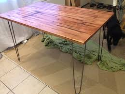 Diy Reclaimed Wood Table Top by Ikea Table For Entryway With Nice Industrial Hairpin Legs And