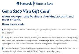 buy e gift cards with checking account la ms fl al tx hancock 200 visa gift card checking