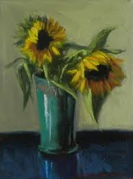 Vase Of Sunflowers Jonelle Summerfield Oil Paintings Sunflowers In Blue Vase
